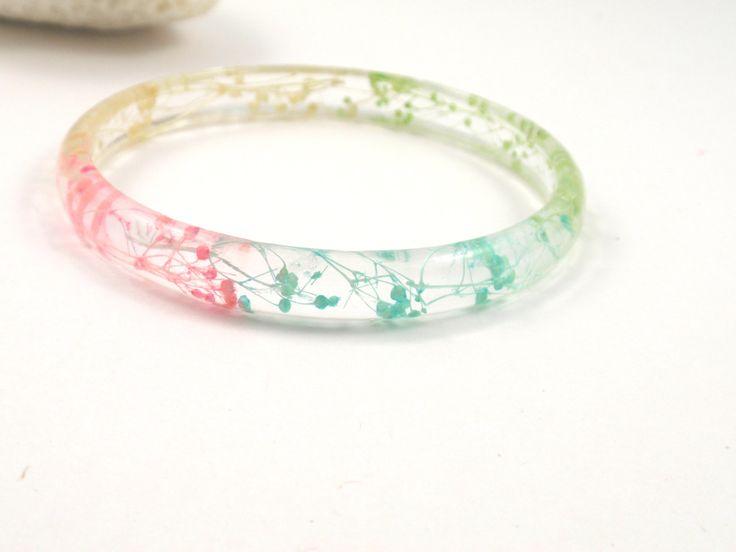 Eco Resin Bracelet - Size L - Real Flower Resin Bracelet,Resin Bangle Bracelet, Plant Bracelet, Botanical Bracelet, flower bangle by SmileWithFlower on Etsy