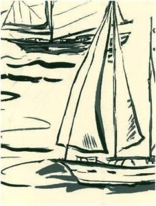 RALPH LAUREN Wallpaper LAWRENCE BEACH BOAT TOILE $138R
