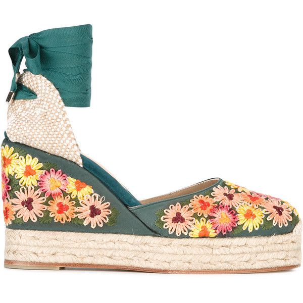 Castañer Carina espadrilles (€405) ❤ liked on Polyvore featuring shoes, sandals, multicolor, castaner espadrilles, multi color sandals, leather footwear, colorful shoes and multi colored shoes