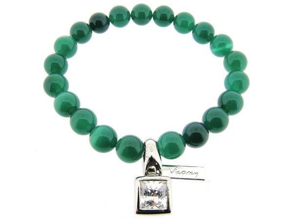 Groene Agaat edelsteen Powerbead rek armband met zirconia steen gezet in Sterling zilveren charm
