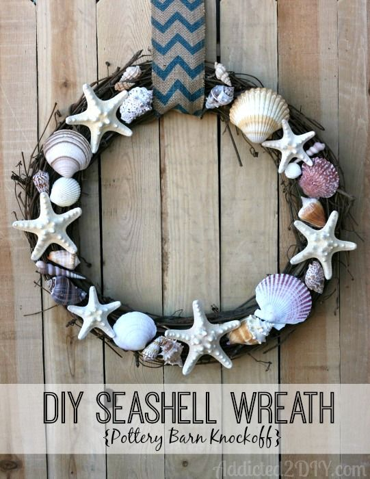 DIY Seashell Wreath | Addicted 2 DIY.  Simple tutorial to make this beachy, Pottery Barn inspired wreath.