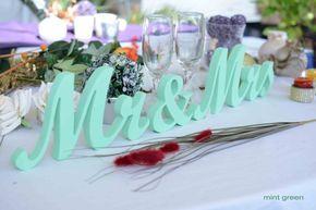 Herr und Frau Hochzeit Buchstaben-Mint Green Zeichen von SunFla