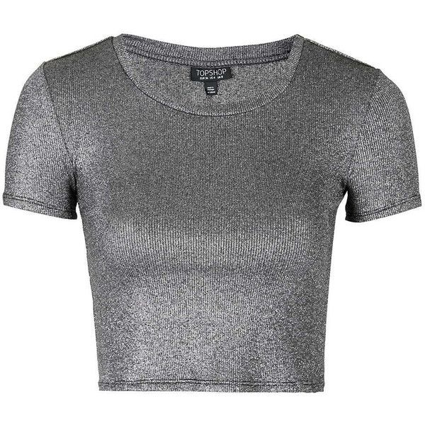 TOPSHOP Metallic Crop Tee ($35) ❤ liked on Polyvore featuring tops, t-shirts, silver, metallic t shirt, metallic tee, crop top, metallic top and topshop