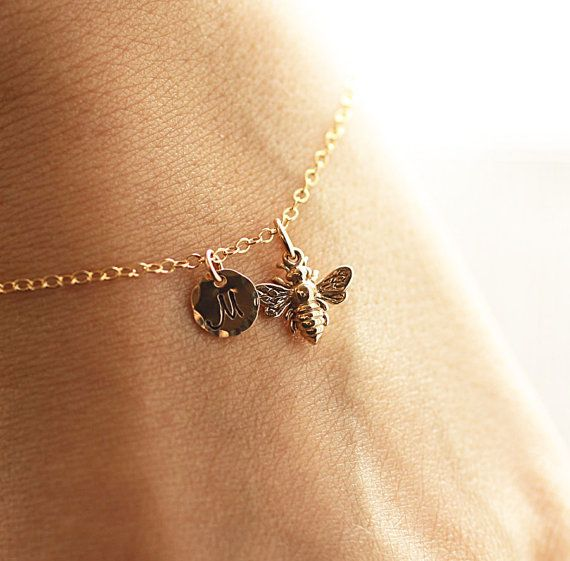 Gold Initial Charm Bracelet Honey Bee Bracelet  by BijouxbyMeg, $28.00