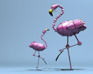 3D Flamingo HD Wallpaper