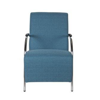 WOOOD fauteuil Halifax gestoffeerd kleur petrol 100% polyester