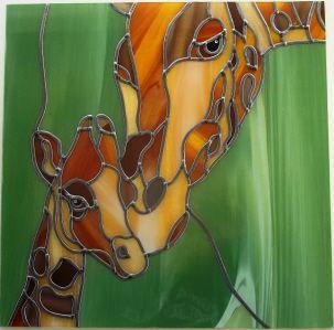 Fine Art Gallery stained glass Momma & Baby Giraffes