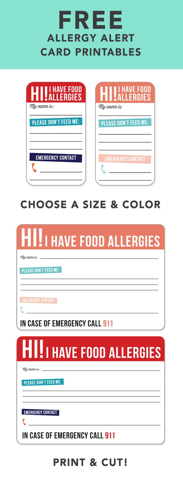 medical alert card template - 17 best images about allergy signs stickers on pinterest