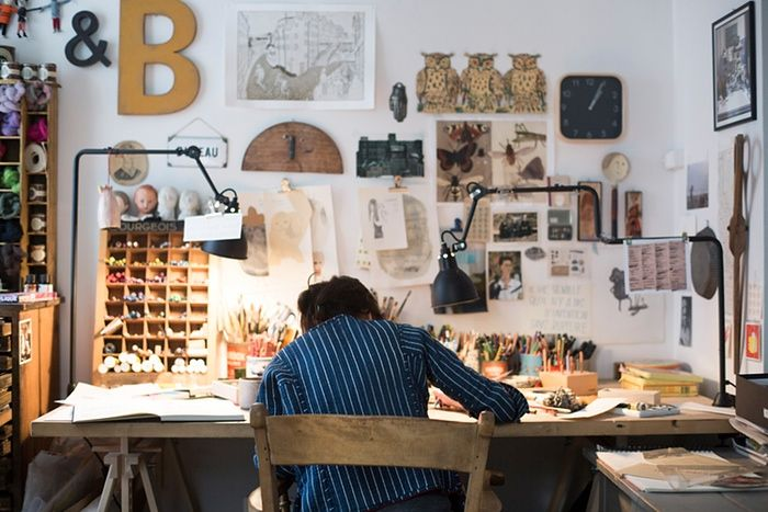 French illustrator Beatrice Alemagna's studio was very Parisian, very quaint; a shrine to her textured and intensely emotional illustrations. Photograph: Jake Green