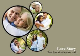 photo collage template with black round picture frames