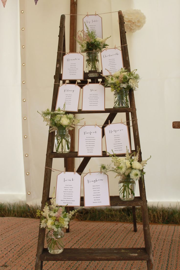 Create a rustic ladder table plan for your wedding day and save tons of £££s!