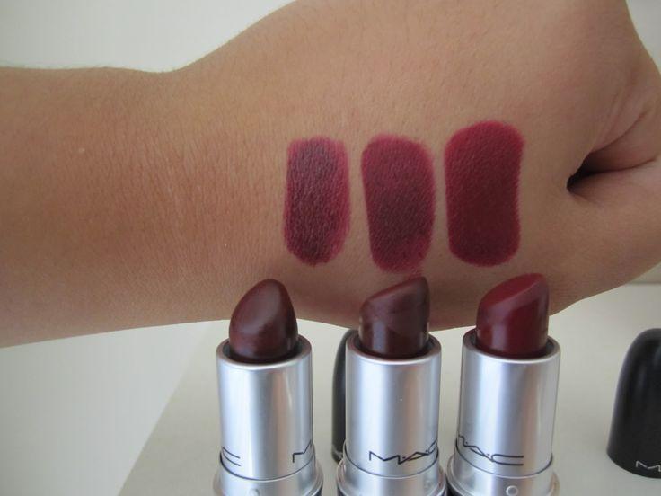 MAC lipsticks: 1- MEDIA (satin) 2- SIN (matte) 3- DIVA (matte)