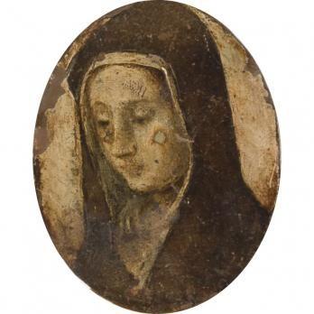 Anonyme du XVIIe Sainte Rita au recto, Saint Antoine au verso Huile sur cuivre Dimensions : 9,6 x 7,5 cm.
