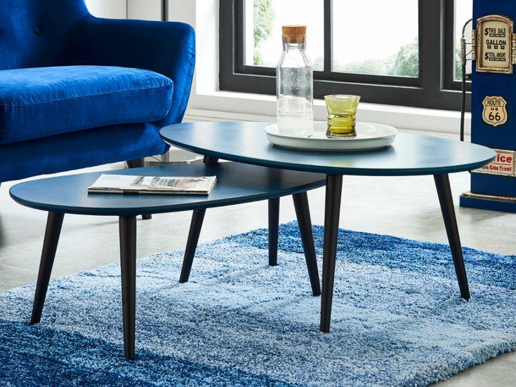 Tables basses gigognes PAMY - MDF laqué & hêtre massif - Bleu nuit & piètement noir