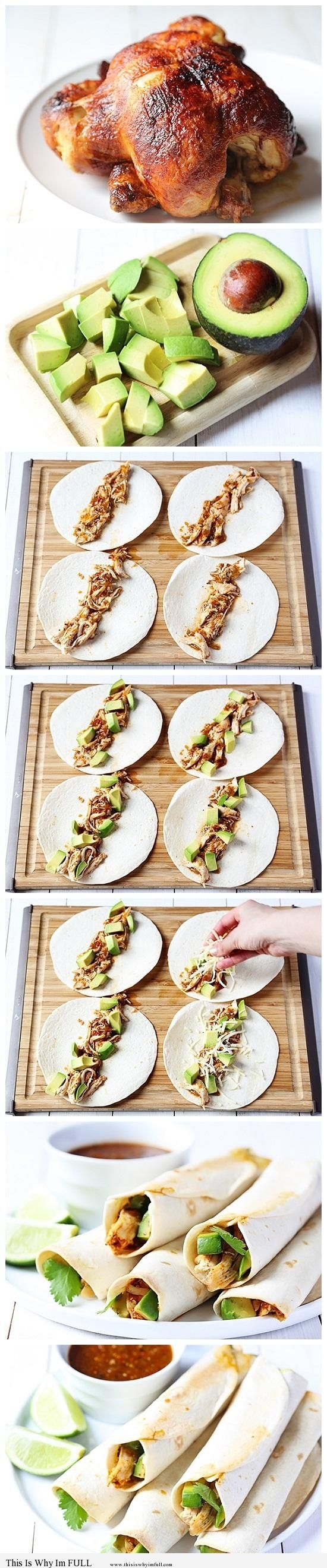 Chicken and Avocado Taquitos - http://www.thisiswhyimfull.com/dinner/chicken-and-avocado-taquitos
