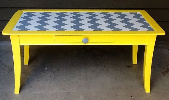 Yellow Grey and White Chevron Coffee Table with by siennabellarose