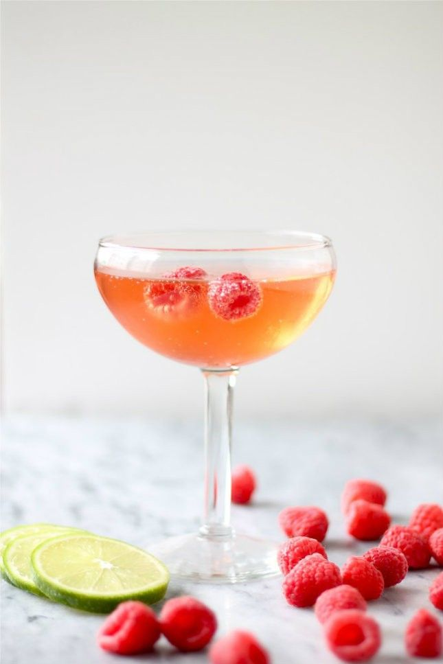 Ginger Beer + Raspberry Champagne Cocktail.