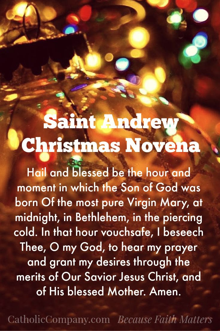 St Andrew Christmas Novena Prayer; this was my mother's Christmas tradition, handed down over the years. I never knew it was attributed to St. Andrew.