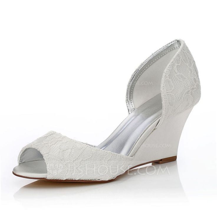 Women's Peep Toe Sandals Dyeable Shoes Wedge Heel Lace Satin Yes Wedding Shoes