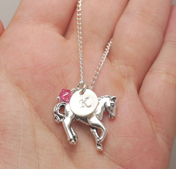 Horse Necklace, Silver Horse Charm, Child Initial Necklace, Little Girl Necklace, Gift for Niece, Gift for Granddaughter