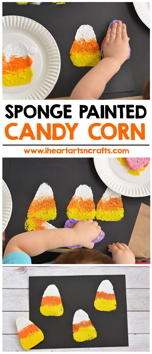 sponge painted candy corn activity for kids - Preschool Halloween Art Projects