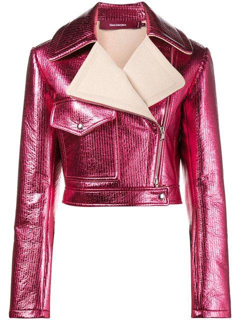 716275a3a Sies Marjan Pink Metallic cropped lurex biker jacket | Projetos para ...