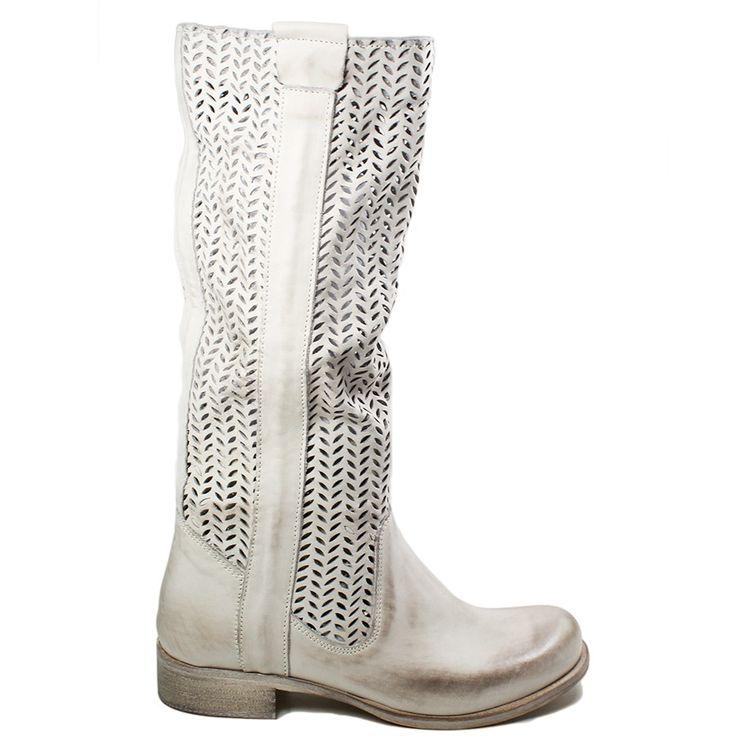 Stivali Biker Boots in Vera Pelle Nabuk traforata spazzolata Vintage*, color Grigio.