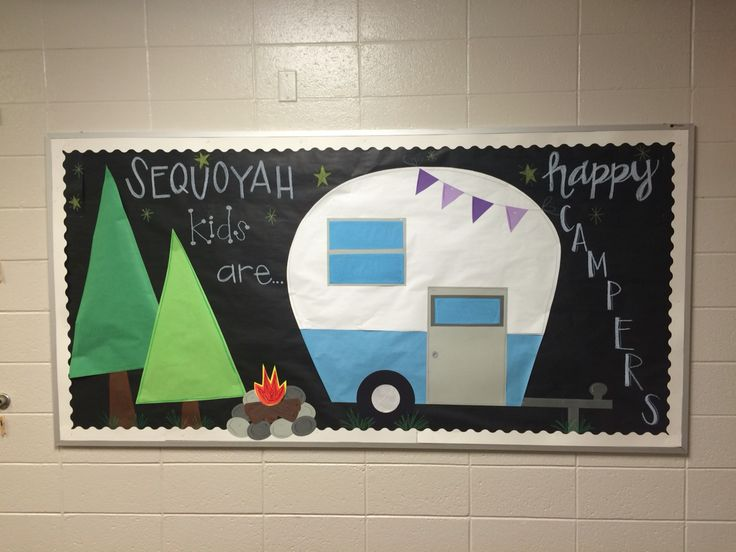 happy camper bulletin board for elementary school hallway.