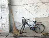 """20"""" x 16"""" A Broom and a Bike Wall Art, Beijing, China, Rustic, Shabby Chic, Fine Art Travel Photography by Glennis Siverson: Wall Art, Beijing China, Glennis Siverson, Fine Art, Travel Photography, Art Travel, Bike Wall, Rustic Shabby Chic"""
