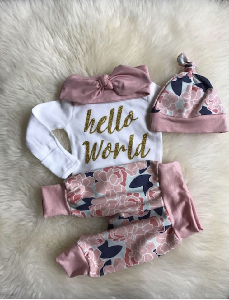cb902584c Newborn Girl coming home outfit, hello world ,Little Sister,take home outfit ,