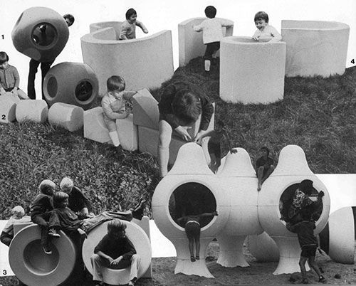 "Jean Dudon & Franco Mello | vintage kids playgrounds - from the book ""Espaces de jeux : de la boîte à sable au terrain d'aventure"", 1976 - via Architektur für Kinder"