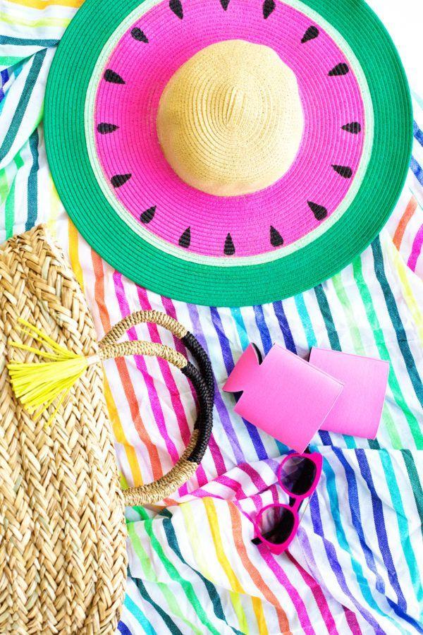 0aef5a5f DIY Watermelon Floppy Hat | DIY | Hats, DIY, Watermelon crafts