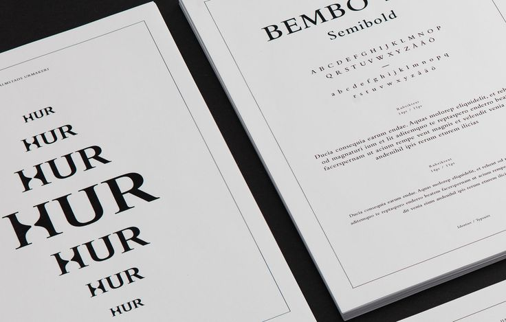 Logotype for the watch store HUR and part of the brand identity is the typeface Bembo — Logotyp för klockbutiken HUR. Typsnittet Bembo är en del av den grafiska profilen