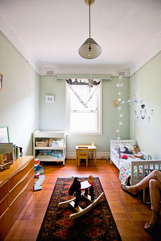 """A soothing shade of """"Mint"""" Green for the nursery. Perfected by the natural sunlight streaming in."""