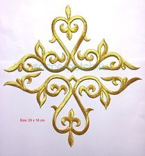 Gold Metallic Embroidery Patch Lace Applique Motif Dance Costume Dressing