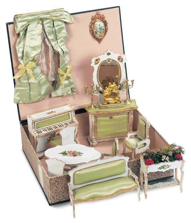 antique french dollhouse furniture I want to make one of these French doll house Boxs one day.