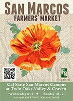 Welk Certified Farmers' Market (Escondido) Monday: 3-7 pm 8860 Lawrence Welk Dr  Escondido, California 92026  Map Manager: Tasha Ardalan & B...