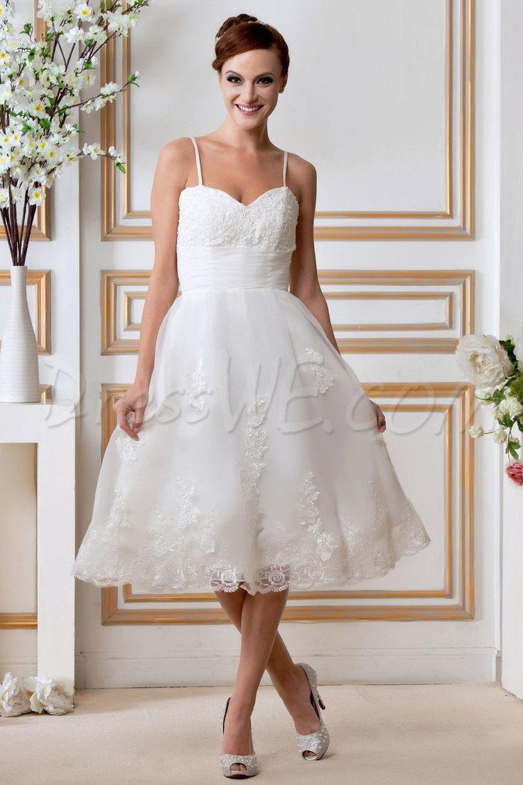 Delicate A-Line Spaghetti Straps Knee-Length Gerogia's Appliques Wedding Dress 3827413 - Beach Wedding Dresses - Dresswe.Com