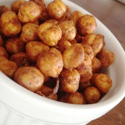 These crispy baked chickpeas are a terrific protein-rich snack you can take on the go. Experiment with different seasoning combos to make your own signature flavors.