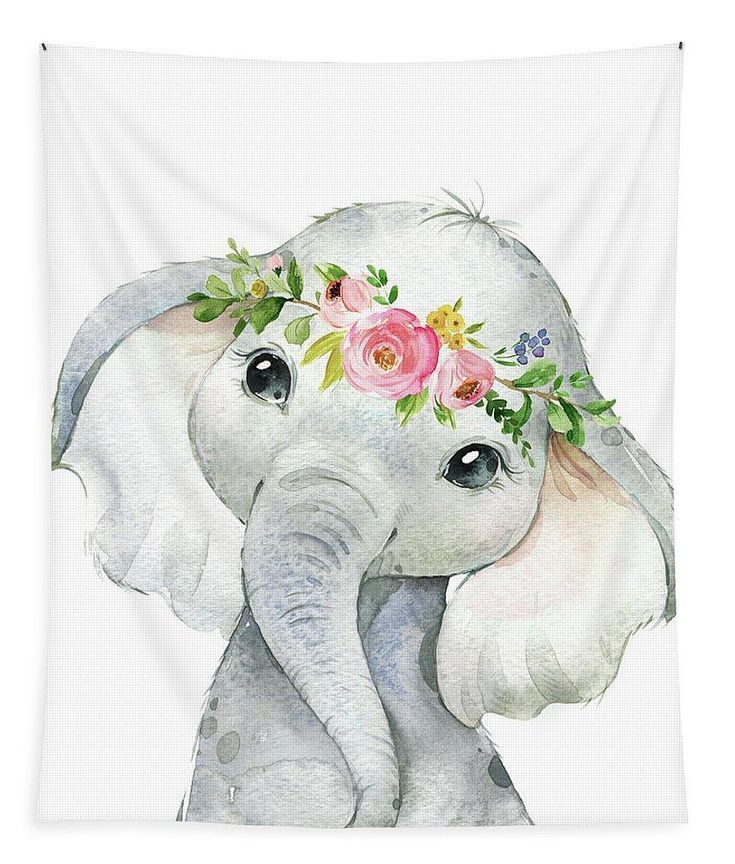 Boho Elephant Wall Art Tapestry Watercolor Zoo Safari Animal Baby Kids Room Fabric …
