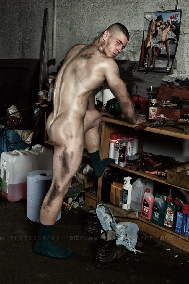 Hard naked model man