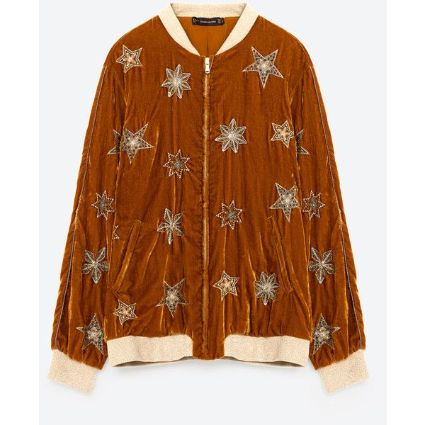 BOMBER JACKET WITH EMBROIDERED STARS - JACKETS-TRF | ZARA United... (170 BRL) ❤ liked on Polyvore featuring outerwear, jackets, bomber style jacket, brown bomber jacket, star jacket, embroidered bomber jacket and embroidery jackets