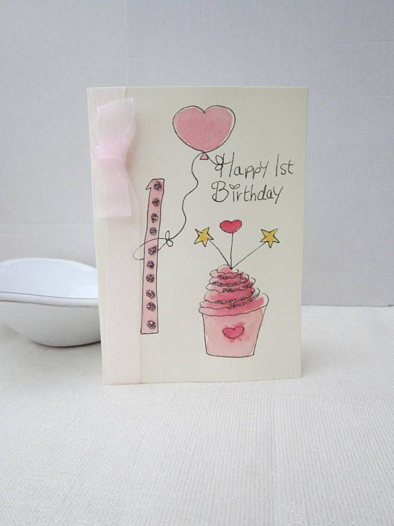 1st Birthday Card Watercolour Daughter