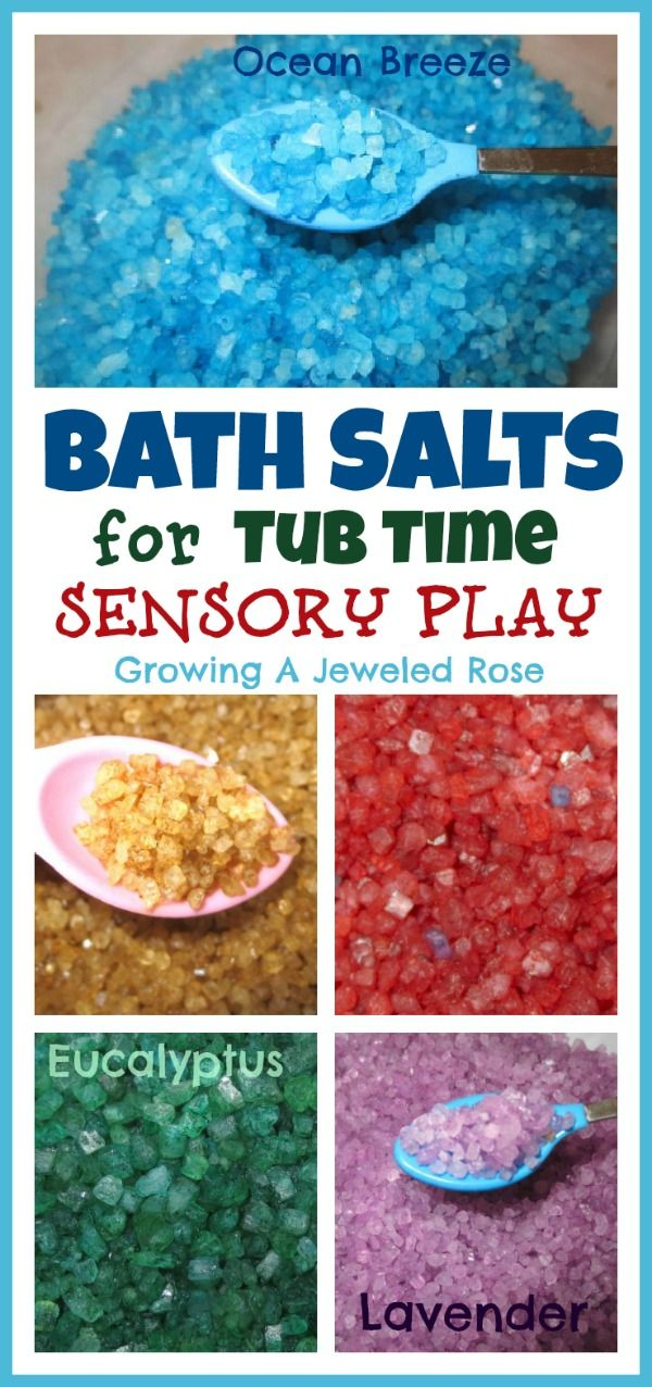Bath Salts make a fantastic bath time sensory material.  They naturally dissolve in water, are a lot like rice or beans, and you can color and scent them any way you wish! Easy to make and so many ways to play!
