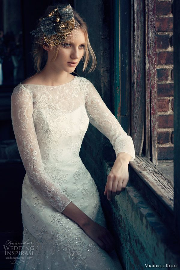 michelle roth 2014 bridal rosalind long sleeve wedding dress close up