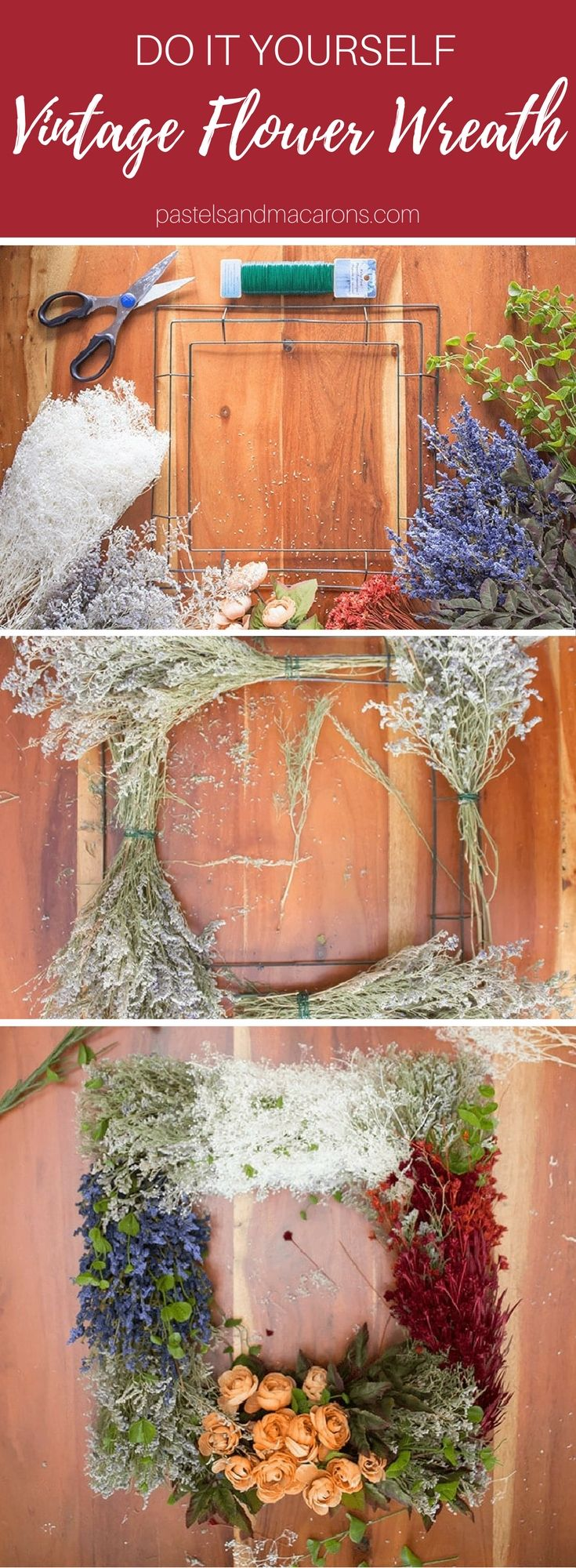 DIY Vintage Flower Wreath for any time of the year. This is such a beautiful handmade square wreath. Use it for any season.