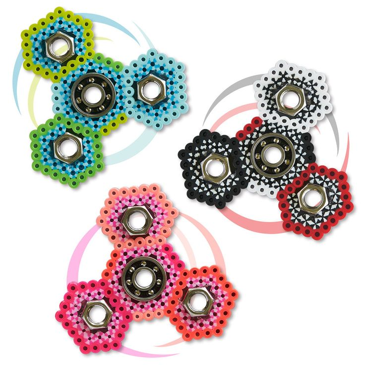 Make your own fidget spinners with your favorite colors of Perler beads. Fun for trading with friends!