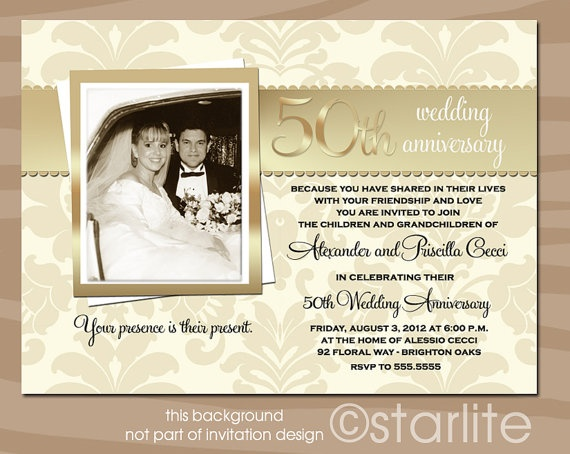 Cheap 50th Wedding Anniversary Invitations: Golden 50 Anniversary Photo Invitation 50th By Starwedd On