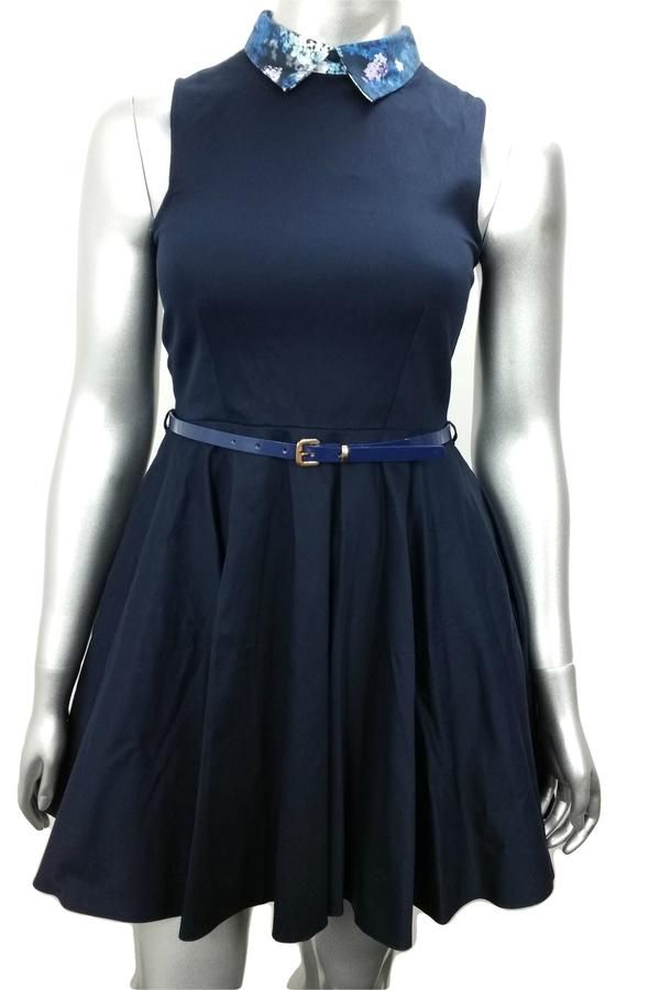 Navy blue sleeveless skater work dress with floral print collar
