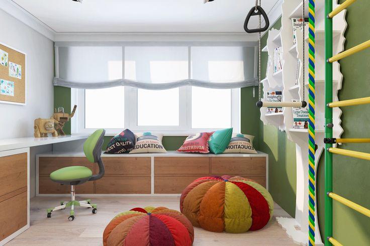 Детская комната малыша оборудована спортивным уголком, имитирующем джунгли,что соответствует увлечениям и интересам ребенка.